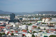 Houses in Reykjavik from above, Iceland Stock Photo