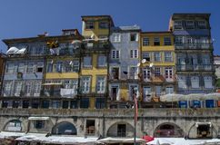 Houses of Ribeira Square located in the historical center of Po. Porto, Portugal; August 2014: Houses of Ribeira Square located in the historical center of Porto stock photos