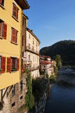 Houses on the river. In Varallo Sesia, Piedmont, Italy Stock Images
