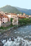 Houses on the river. In Varallo Sesia, Piedmont, Italy Royalty Free Stock Photos