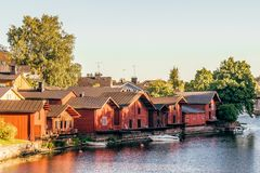 Wooden Houses on the river royalty free stock photography
