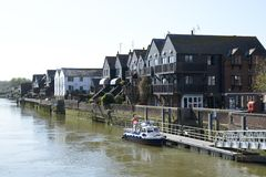 Houses by River Arun. Arundel. England Stock Photo