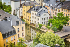 Houses and River Canal in Luxembourg Royalty Free Stock Photos