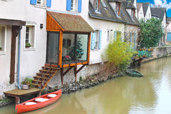 Houses on the river in Chartres. Royalty Free Stock Images