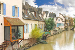 Houses on the river in Chartres. Royalty Free Stock Photo