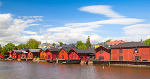 Houses on the river coast, Porvoo town, Finland Royalty Free Stock Photography