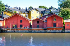 Houses on the river embankment Porvoonjoki in the Finnish city near Helsinky - Porvoo royalty free stock photos
