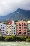 Houses on River Inn in Innsbruck, Austria Stock Image