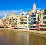 Houses on river Onyar, Girona, Spain Stock Photography
