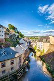 Houses and River in Saarburg, Germany Stock Photo