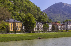 Houses by the River salzach Royalty Free Stock Photos