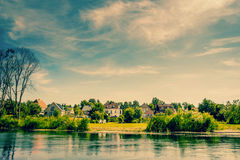 Houses by the riverside royalty free stock images