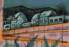Houses by the road. Colored sketch of houses by the road Royalty Free Stock Photography