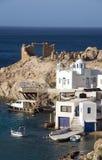 Houses rock cliffs  Firopotamos Milos Royalty Free Stock Image