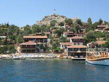 Houses on the rock in kekova turkey Royalty Free Stock Images