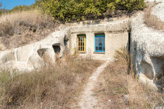 Houses in a rock. In Noszvaj, Hungary Royalty Free Stock Photography