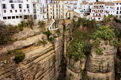 Houses on a Rock in Ronda Royalty Free Stock Photos