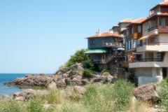 Houses on the rocks in the Sozopol, Bulgaria Royalty Free Stock Photography