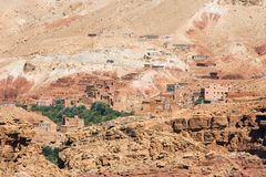 Houses on the rocky Atlas mountainside Royalty Free Stock Photography