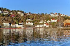 Houses on a rocky cliff Royalty Free Stock Photos