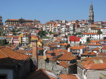 Houses roof and cathedral tower in PORTO. Houses roof and cathedral tower in historic part of capital city of PORTO OPORTO, second largest in country with clear Royalty Free Stock Image
