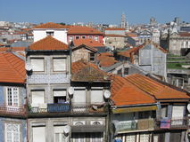 Houses roof in historic part of Porto. Houses roof in historic part of second largest city of PORTO, OPORTO in PORTUGAL with clear blue sky in warm day, EUROPE Stock Image