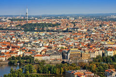 The houses and roofs of Prague old city town Stock Images