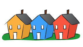 Houses in a row. Illustration of three colorful houses in a row Vector Illustration
