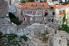 Houses Ruins in the Center of Dubrovnik Stock Images