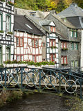 Houses on the Rur River in  Monschau, Germany Stock Photo