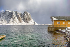 Houses in Sakrisoy Village in Northern part of Norway. Royalty Free Stock Photo