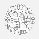 Houses for sale illustration. Houses and property for sale illustration. Vector round real estate concept symbol made with thin line icons Royalty Free Stock Photos
