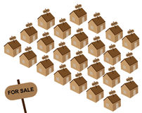 Houses for sale. Many small houses on a white background royalty free illustration