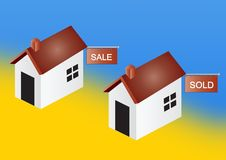 Houses for sale and sold royalty free stock photos