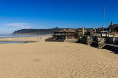 Houses almost in the sand of Cannon Beach, Oregon, USA. stock photography