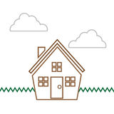Houses Scene Outline Royalty Free Stock Photos