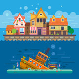 Houses by the sea. Embankment. Houses. Underwater World. Sunken ship. Vector flat illustration Royalty Free Stock Photo
