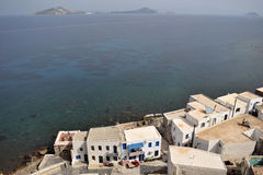 Houses and sea from high. The city of Nisyros from the Panagia monastery Royalty Free Stock Photos