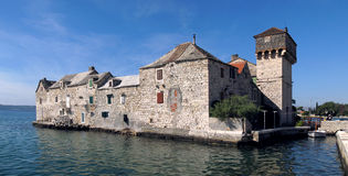 Houses in the sea in Kastel Gomilica stock photo