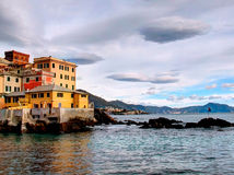 Houses on the sea. Little houses builded on the sea stock image