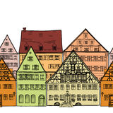 Houses seamless background. European Cityscape. Cosy street. Royalty Free Stock Images