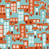 Houses seamless colorful pattern Royalty Free Stock Images