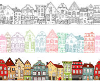 Houses Seamless Compositions. With  monochrome town buildings with colored outlines and painted cityscape  vector illustration Royalty Free Stock Photos