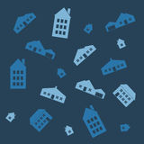 Houses seamless pattern. Different houses on a seamless pattern Stock Photo