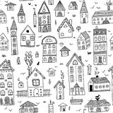 Houses seamless pattern Royalty Free Stock Photos
