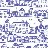 Houses seamless pattern doodle Stock Image