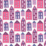Houses seamless pattern. Sweet pink girlish. Background. Kids texture vector illustration