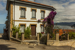 Houses and seascape in Lastres, sailor coastal village in Asturi Stock Photography