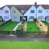 Houses. Semi detached houses with beautiful gardens in Barnet, North London stock photos
