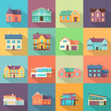 Houses Set. Architecture Variations Flat Design. Stock Image